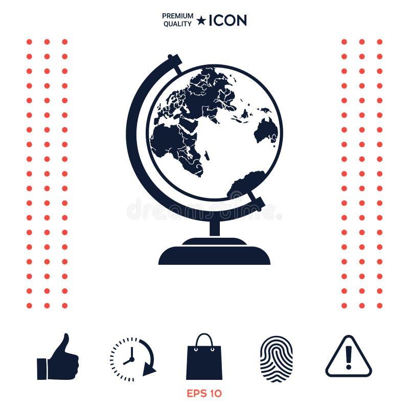Download Icona di simbolo del globo illustrazione vettoriale. Illustrazione di piano - 117975186
