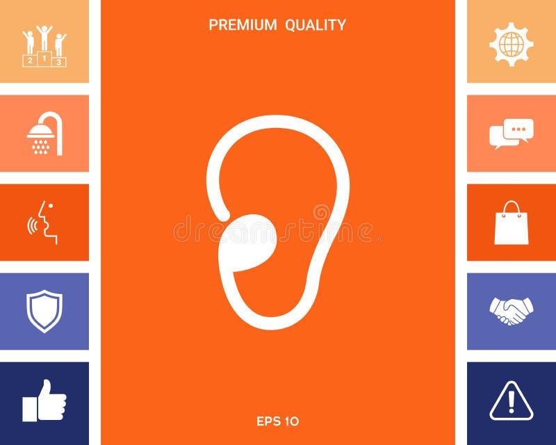 Icona di simbolo dell'orecchio illustrazione di stock