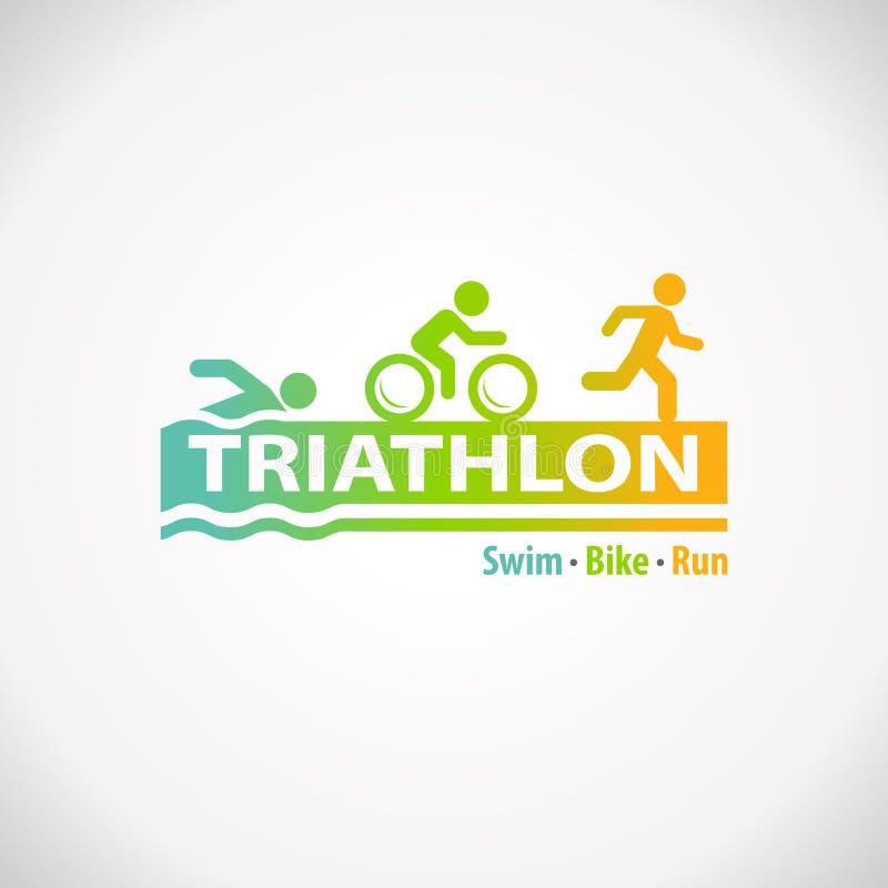 Icona di simbolo di forma fisica di triathlon illustrazione di stock