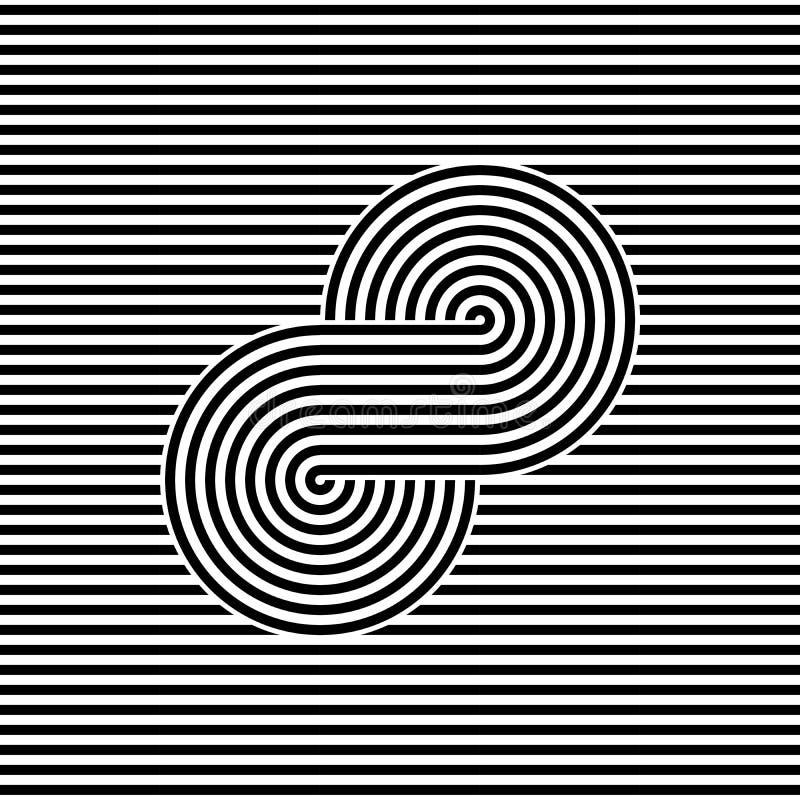 Icona di simbolo di infinito Rappresentazione del concetto delle cose infinite, illimitate e senza fine Progettazione a più linee illustrazione di stock