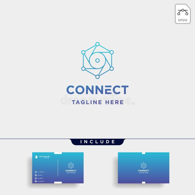 icona di simbolo di Internet della macchina fotografica di vettore di progettazione di logo di tecnologia di esagono della lente royalty illustrazione gratis