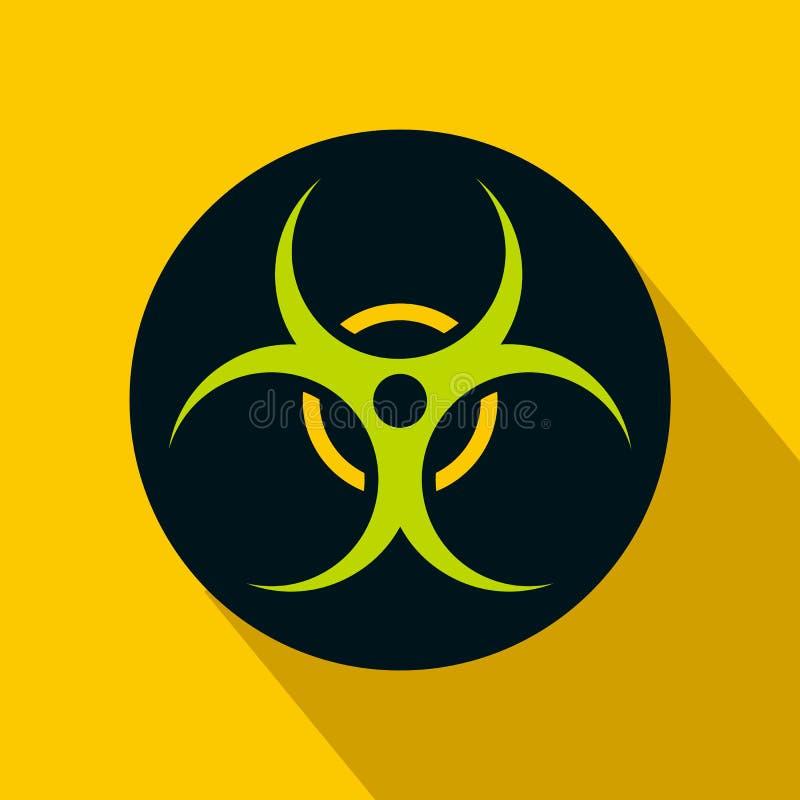 Icona di simbolo di rischio biologico, stile piano illustrazione di stock