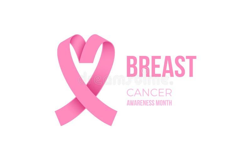 Icona di simbolo di solidarietà delle donne di vettore del nastro di rosa di mese di consapevolezza del cancro al seno illustrazione vettoriale