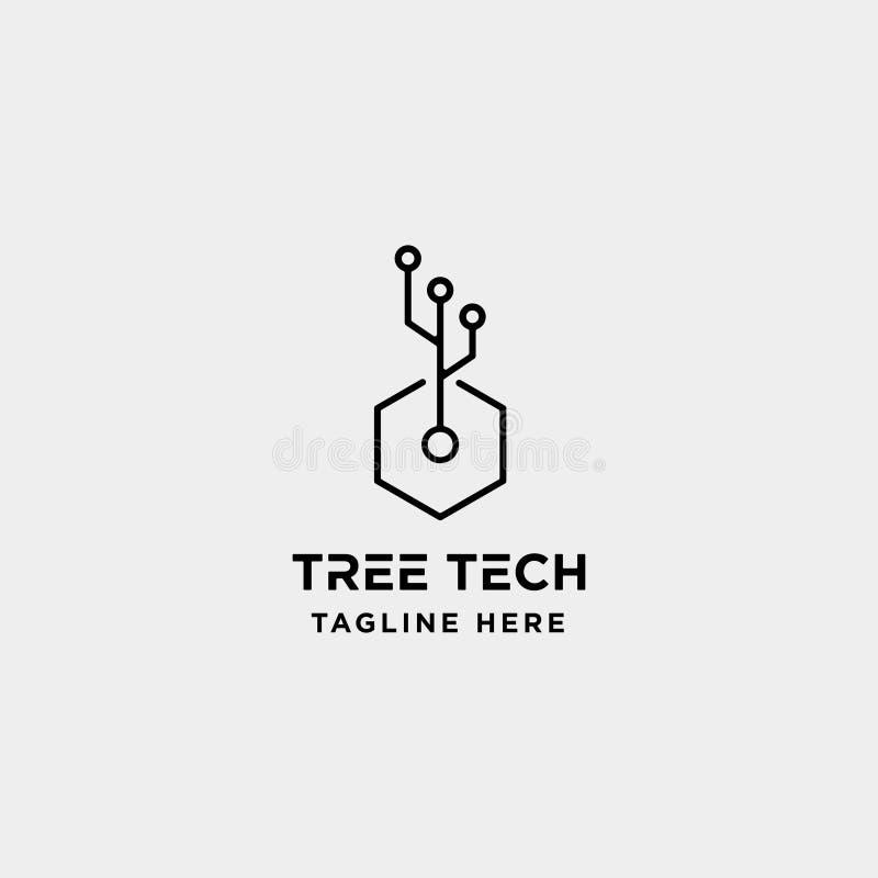 icona di simbolo di tecnologia della natura di progettazione di logo di tecnologia dell'albero illustrazione vettoriale