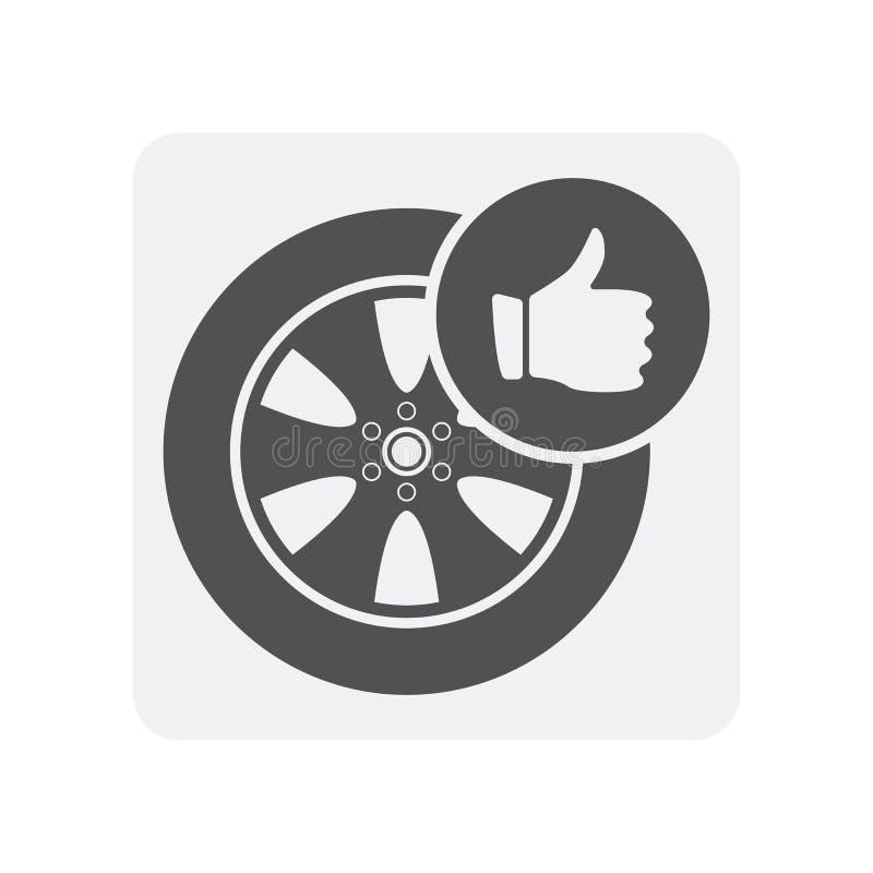 Icona di sistemi diagnostici dell'automobile con l'elemento dell'orlo della lega illustrazione di stock