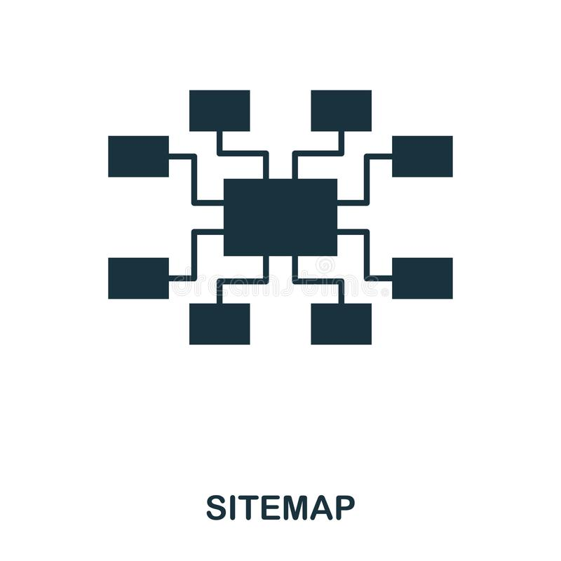 Icona di Sitemap Linea progettazione dell'icona di stile Ui Illustrazione dell'icona del sitemap pittogramma isolato su bianco Pr royalty illustrazione gratis