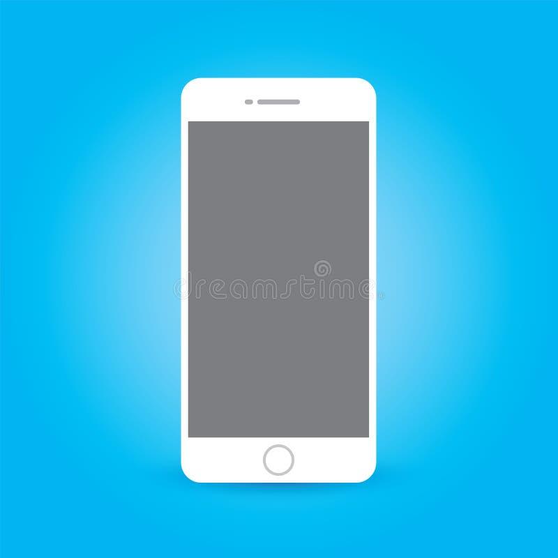 Icona di Smartphone nella progettazione piana di stile sui precedenti blu Illustrazione di riserva di vettore royalty illustrazione gratis