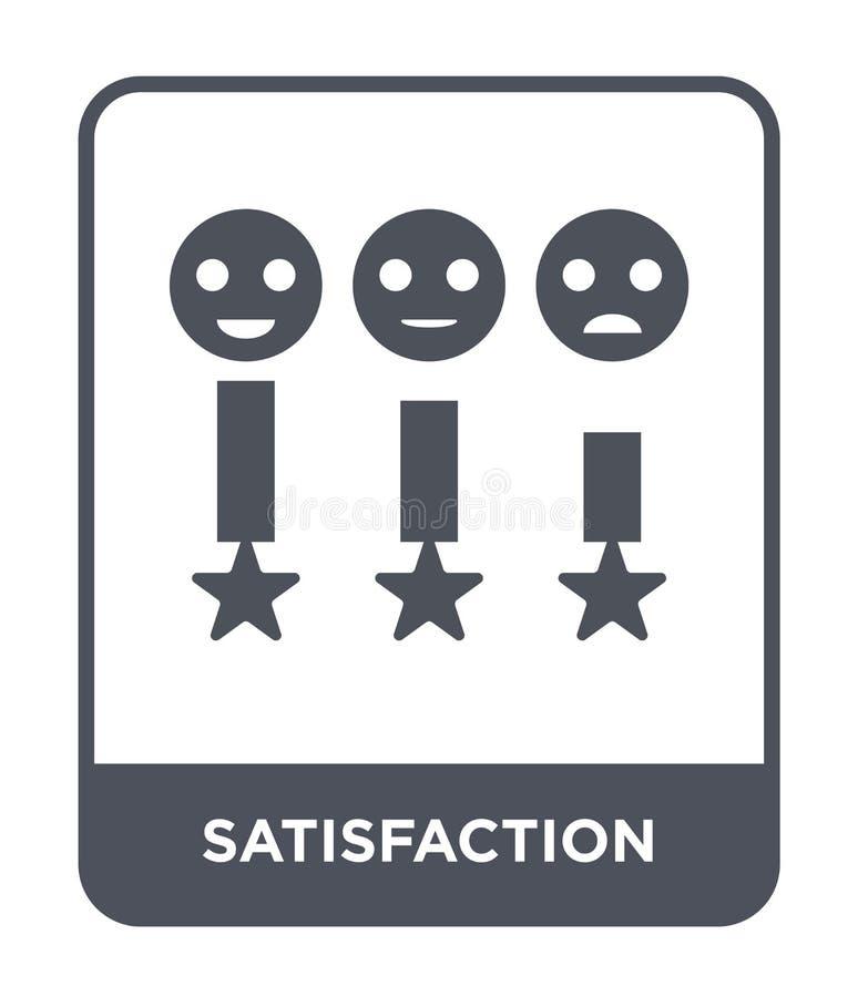 icona di soddisfazione nello stile d'avanguardia di progettazione icona di soddisfazione isolata su fondo bianco icona di vettore royalty illustrazione gratis