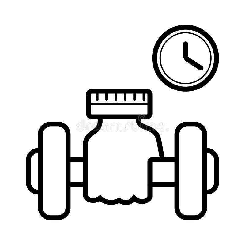 Icona di sollevamento del muscolo, bilanciere di forma fisica, icona della palestra illustrazione vettoriale