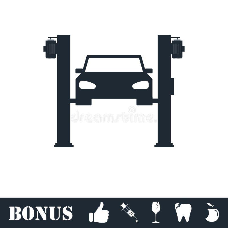 Icona di sollevamento dell'automobile pianamente illustrazione vettoriale