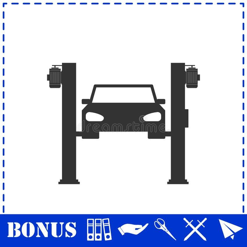 Icona di sollevamento dell'automobile pianamente illustrazione di stock