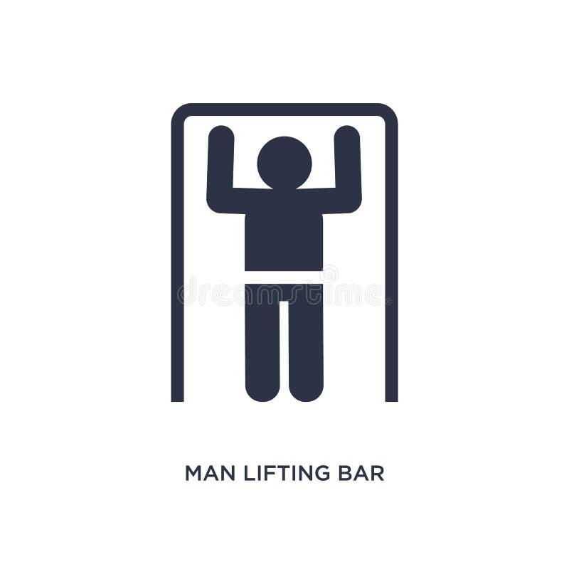 icona di sollevamento della barra dell'uomo su fondo bianco Illustrazione semplice dell'elemento dal concetto di comportamento illustrazione vettoriale
