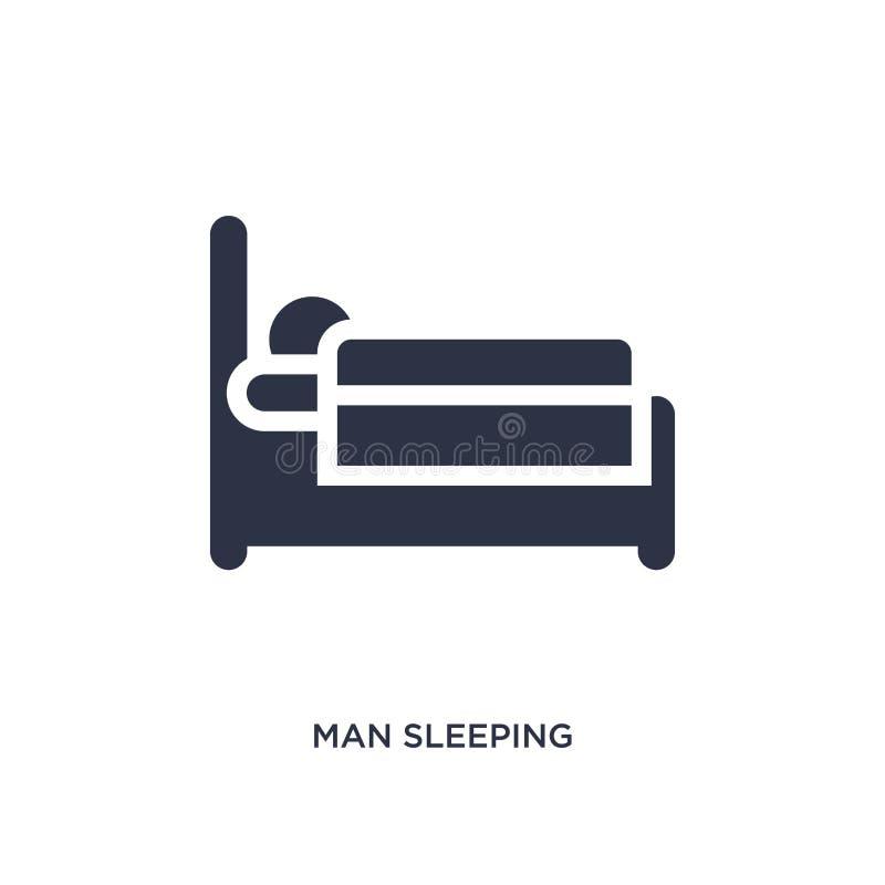 icona di sonno dell'uomo su fondo bianco Illustrazione semplice dell'elemento dal concetto di comportamento illustrazione di stock