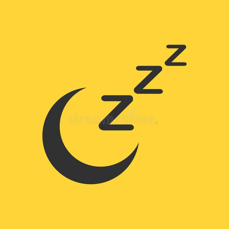Icona di sonno della luna di Zzz, addormentata, icona di web di vettore dello zzz isolata su fondo giallo illustrazione di stock