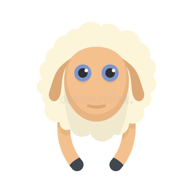 Icona di sorriso delle pecore, stile piano illustrazione di stock