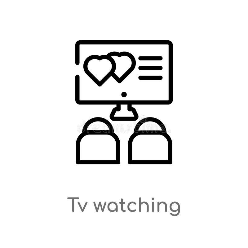 icona di sorveglianza di vettore del profilo TV linea semplice nera isolata illustrazione dell'elemento dal concetto di nozze & d illustrazione vettoriale