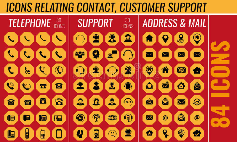 Icona di sostegno e del contatto messa nel vettore illustrazione vettoriale
