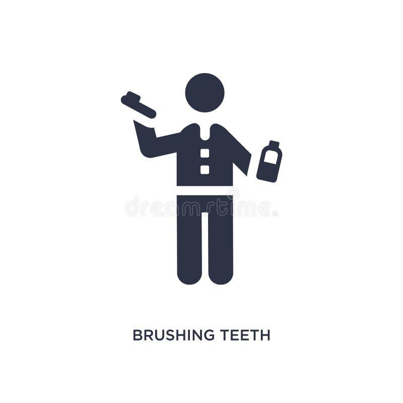 icona di spazzolatura dei denti su fondo bianco Illustrazione semplice dell'elemento dal concetto di comportamento illustrazione di stock