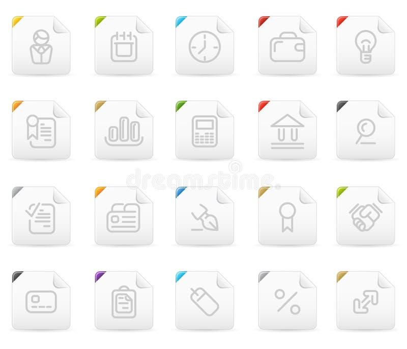 Icona di Squaro impostata: Commercio e finanze illustrazione di stock