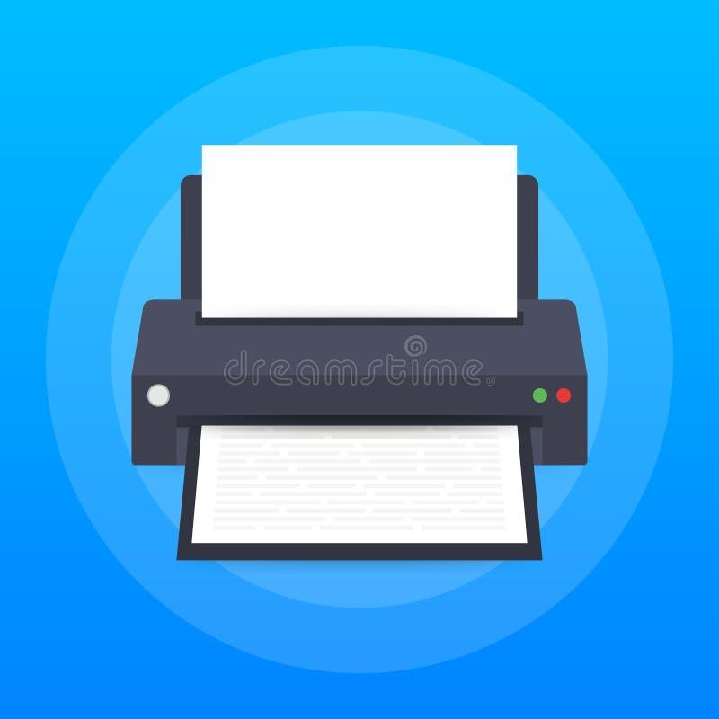 Icona di stampante piana stampante con lo strato di carta a4 ed il documento di testo stampato Illustrazione di riserva di vettor illustrazione vettoriale