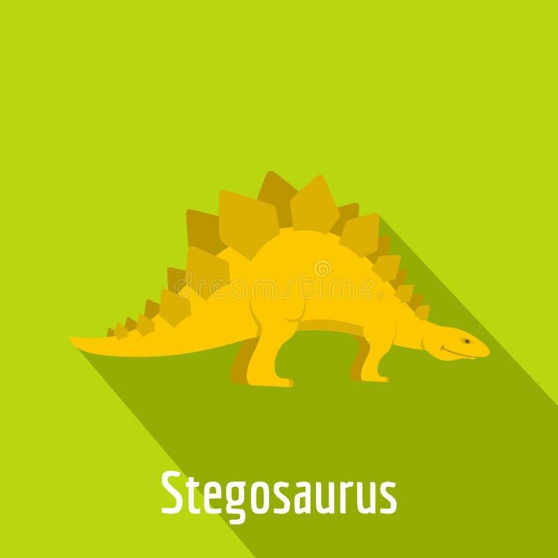 Icona di stegosauro, stile piano illustrazione vettoriale