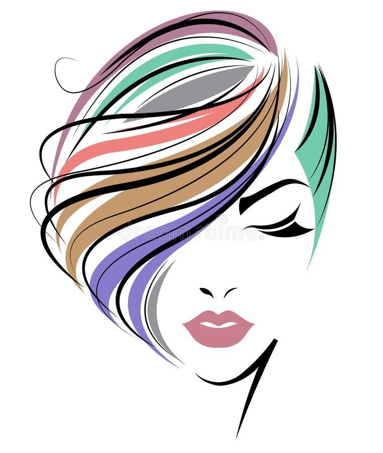 Icona di stile di capelli di scarsità delle donne, fronte delle donne di logo su fondo bianco illustrazione di stock