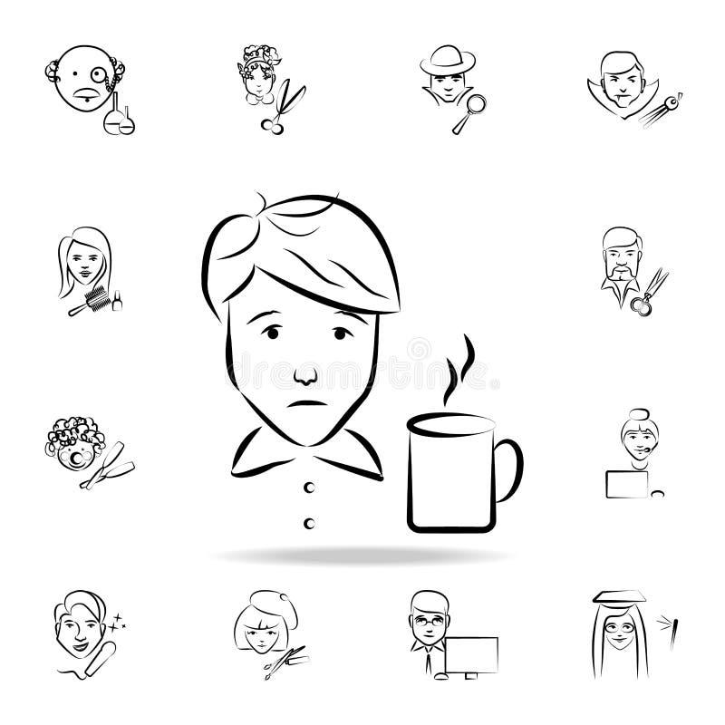 icona di stile di schizzo dell'avatar del cameriere Insieme dettagliato della professione nelle icone di stile di schizzo Progett illustrazione vettoriale
