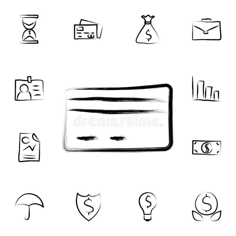 icona di stile di schizzo della carta di credito Insieme dettagliato di attività bancarie nelle icone di stile di schizzo Progett illustrazione di stock