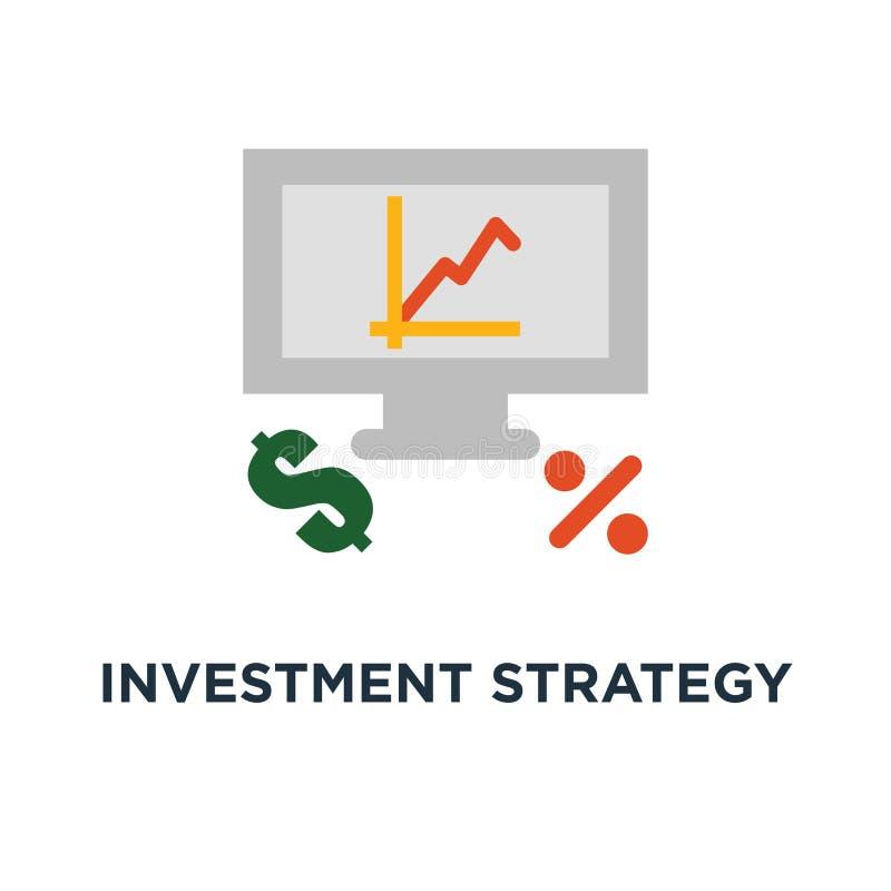 icona di strategia di investimento analisi finanziaria, tasso di interesse, crescita capitale, rassegna di dati su progettazione  royalty illustrazione gratis