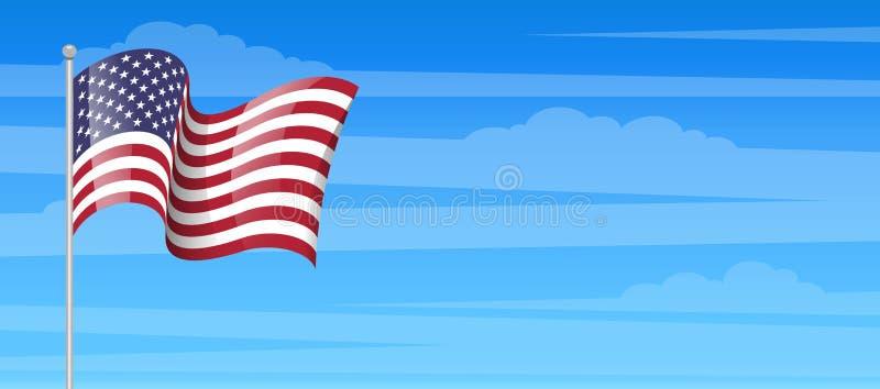 Icona di stuzzicadenti della bandiera americana Bandiera degli Stati Uniti con il palo isolato illustrazione di stock