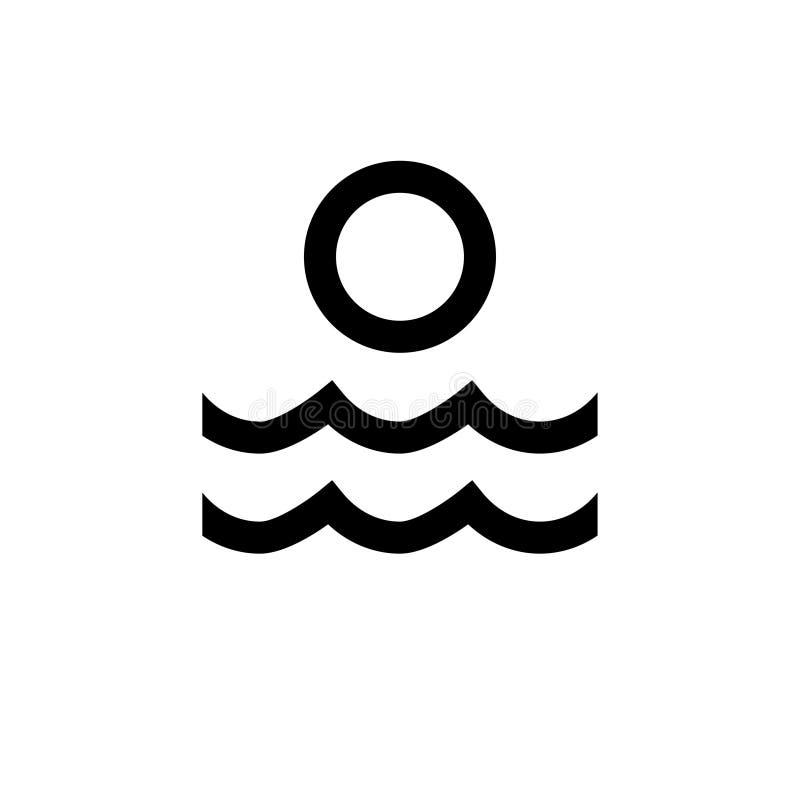 Icona di Sun e dell'acqua nessuna 1 royalty illustrazione gratis