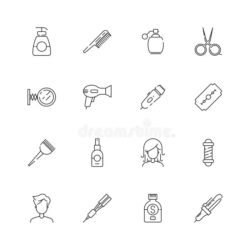 Icona di taglio di capelli L'acconciatura del salone di bellezza che cuoce a vapore e che lava le forbici degli utensili per il t illustrazione di stock