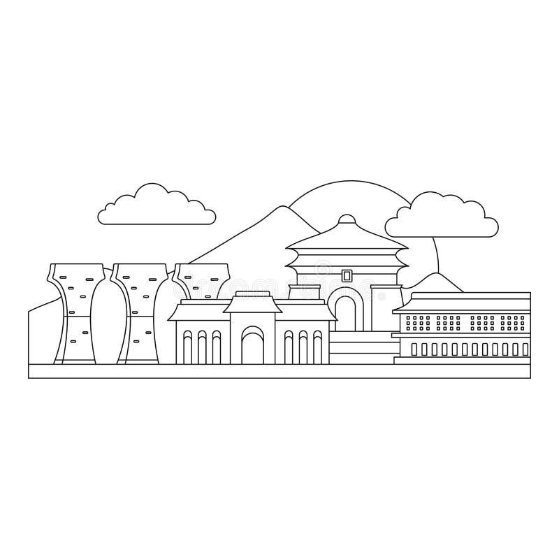 Icona di Taipei, stile del profilo illustrazione di stock