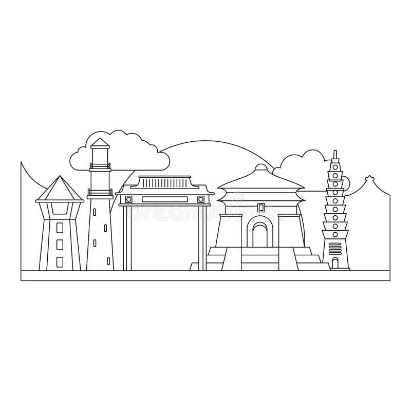 Icona di Taipei Taiwan, stile del profilo royalty illustrazione gratis