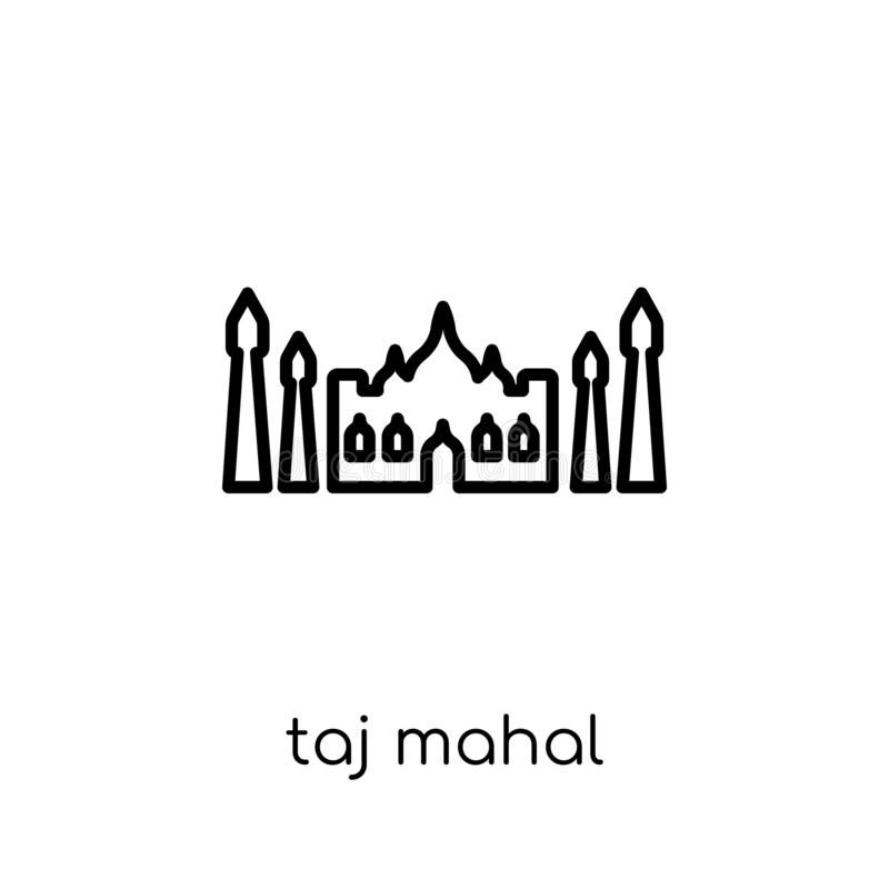 Icona di Taj Mahal Icona lineare piana moderna d'avanguardia del Taj Mahal di vettore illustrazione vettoriale