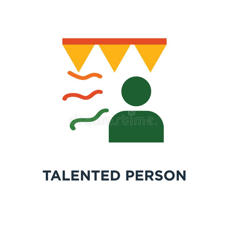 icona di talento della persona studente astuto, fumetto della celebrità, progettazione di simbolo di concetto di cerimonia di pre royalty illustrazione gratis