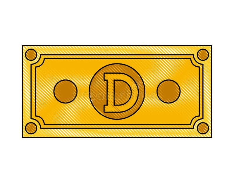 Icona di tecnologia di commercio del dogecoin di Bill illustrazione vettoriale