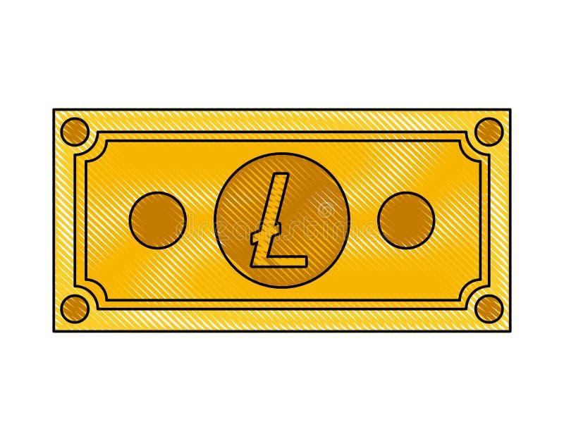 Icona di tecnologia di commercio del litecoin di Bill illustrazione vettoriale