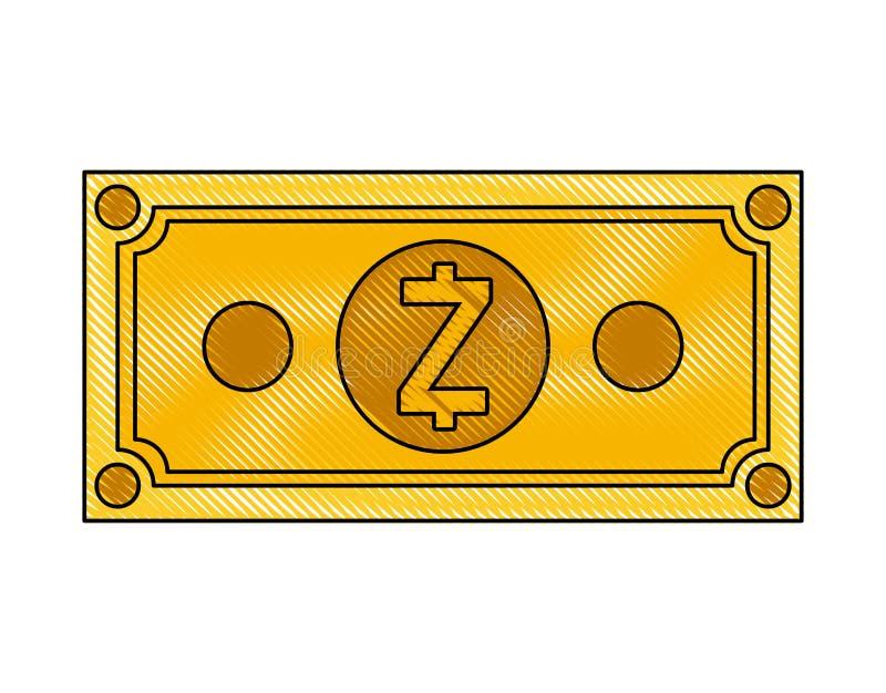 Icona di tecnologia di commercio dello zcash di Bill illustrazione vettoriale