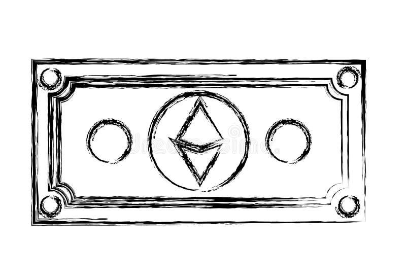 Icona di tecnologia di commercio di etherum di Bill illustrazione di stock