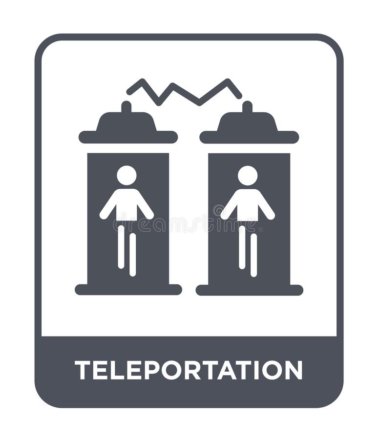 icona di teletrasporto nello stile d'avanguardia di progettazione Icona di teletrasporto isolata su fondo bianco icona di vettore illustrazione di stock