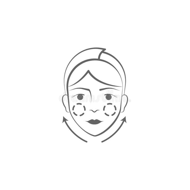 icona di tiraggio della mano della chirurgia plastica Elementi dell'icona di sollevamento dell'illustrazione del corpo e del fron royalty illustrazione gratis