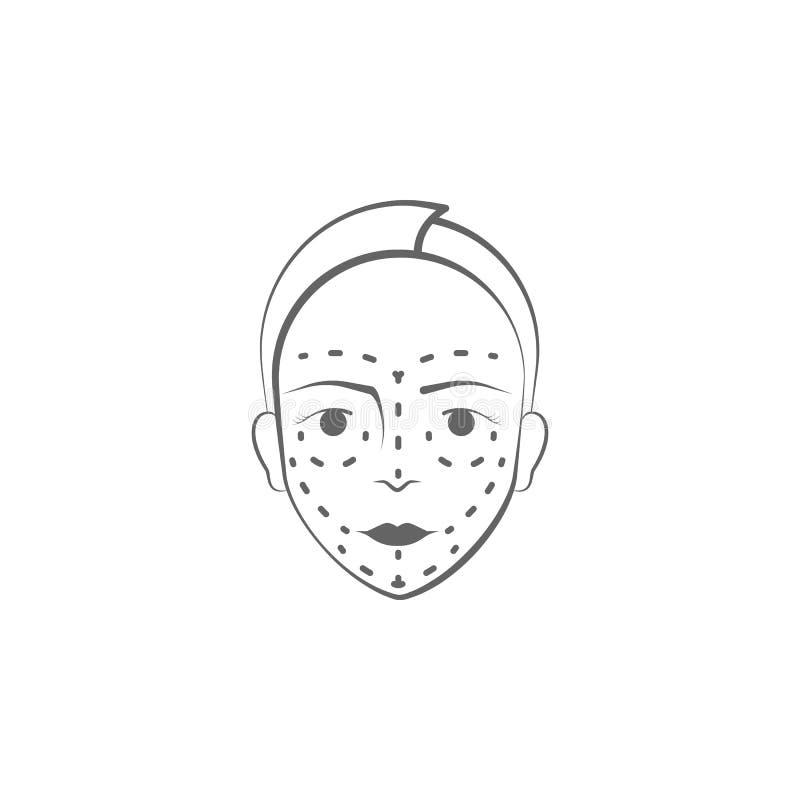 icona di tiraggio della mano della chirurgia plastica Elementi dell'icona di sollevamento dell'illustrazione del corpo e del fron illustrazione vettoriale