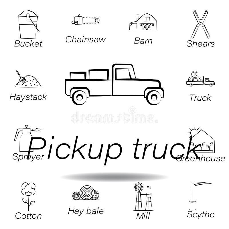 icona di tiraggio della mano del camioncino Elemento di agricoltura delle icone dell'illustrazione I segni ed i simboli possono e illustrazione vettoriale