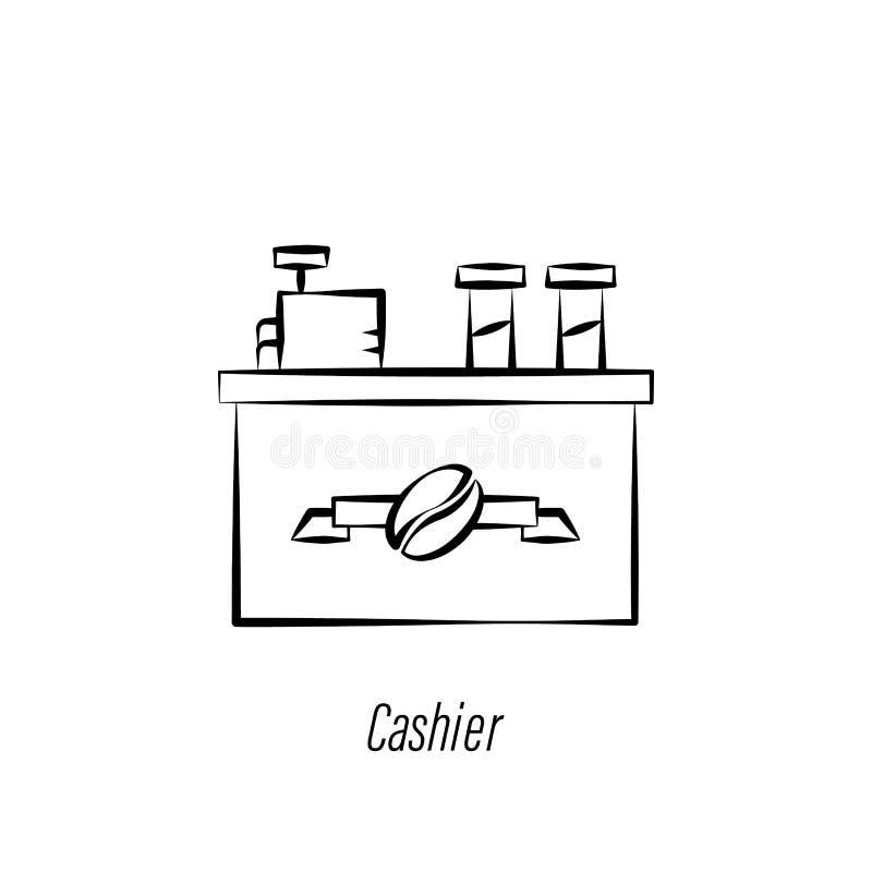 Icona di tiraggio della mano del cassiere del caff? Elemento dell'icona dell'illustrazione del caff? I segni ed i simboli possono illustrazione di stock