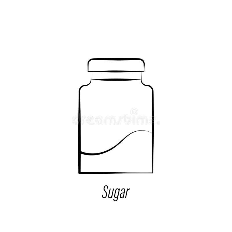 Icona di tiraggio della mano dello zucchero del caff? Elemento dell'icona dell'illustrazione del caff? I segni ed i simboli posso illustrazione vettoriale