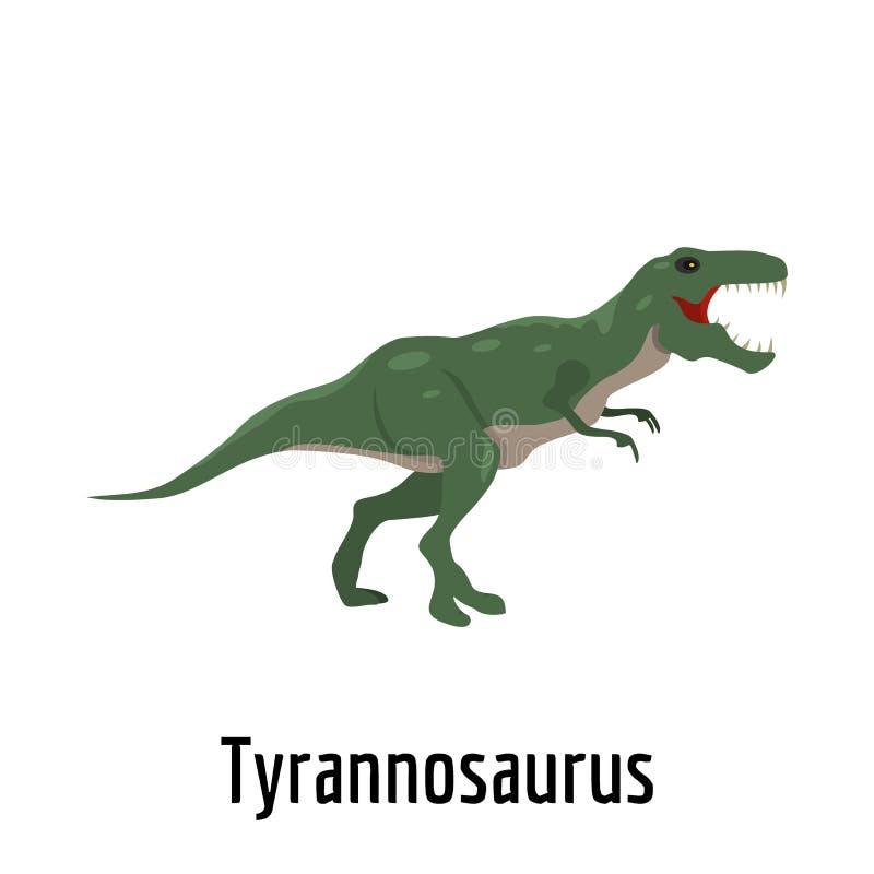 Icona di tirannosauro, stile piano illustrazione di stock