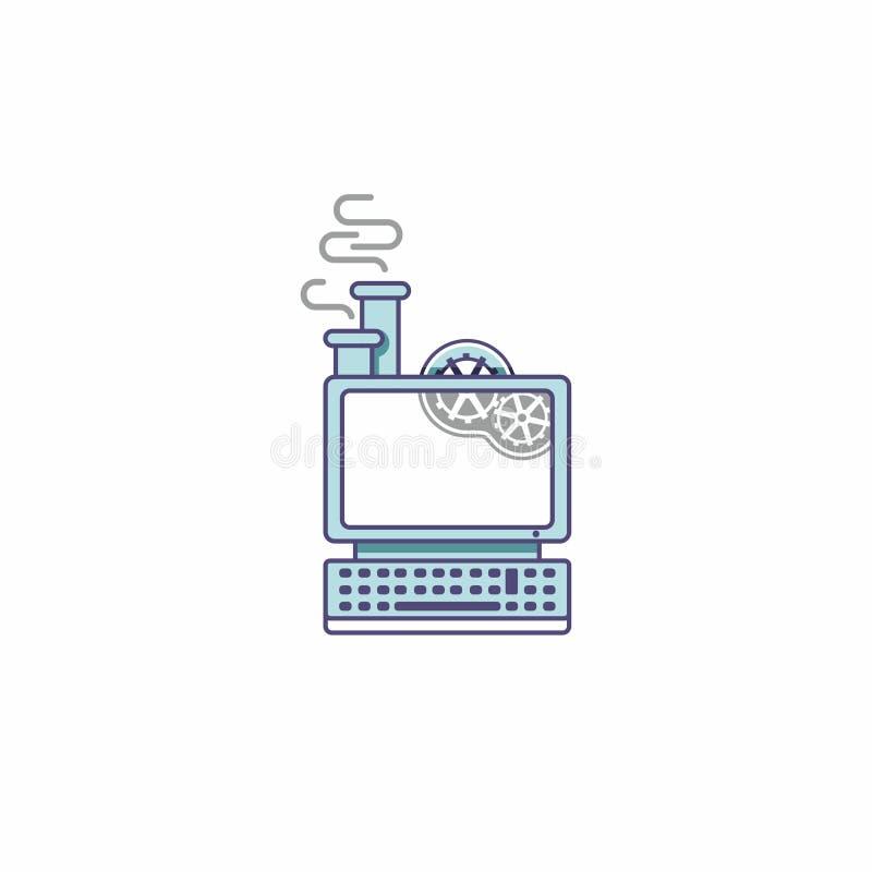 Icona di un computer fantastico nello stile di steampunk Computer del vapore con gli ingranaggi ed il camino illustrazione di stock