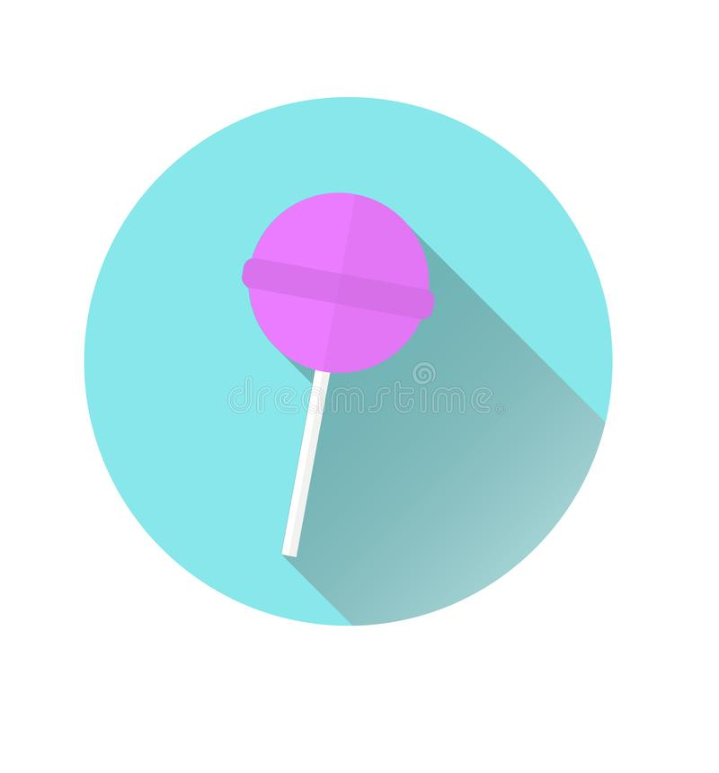 Icona di un'icona rosa di Chupa Chups su un fondo blu del cerchio Grafici di vettore illustrazione di stock