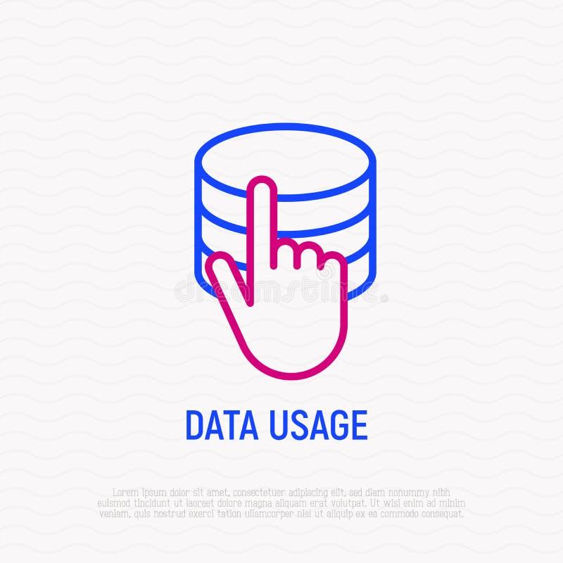 Icona di uso e di accesso di dati: mano che spinge sul server illustrazione di stock